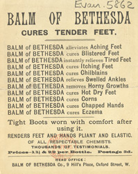 Advert for Balm of Bethesda, corn remedy, reverse side